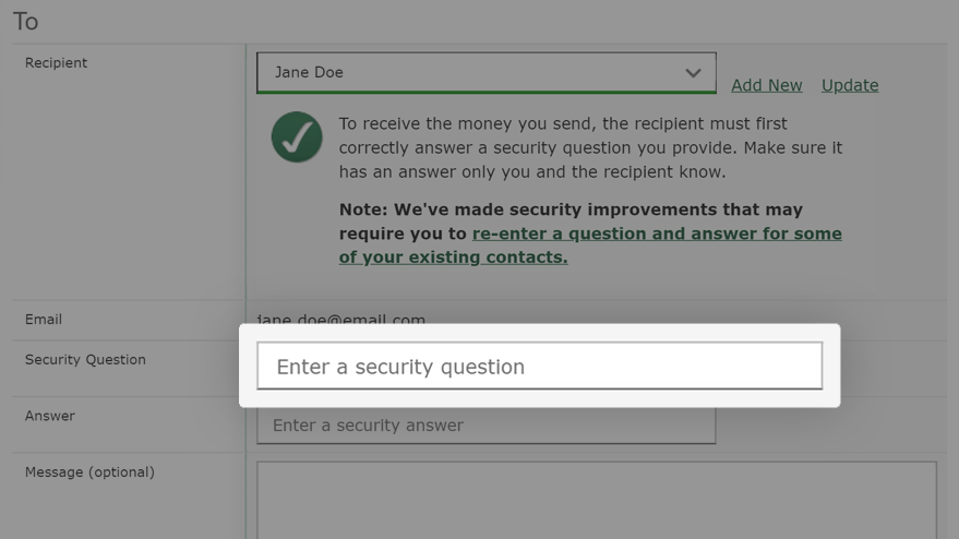 Go to the Security Question field