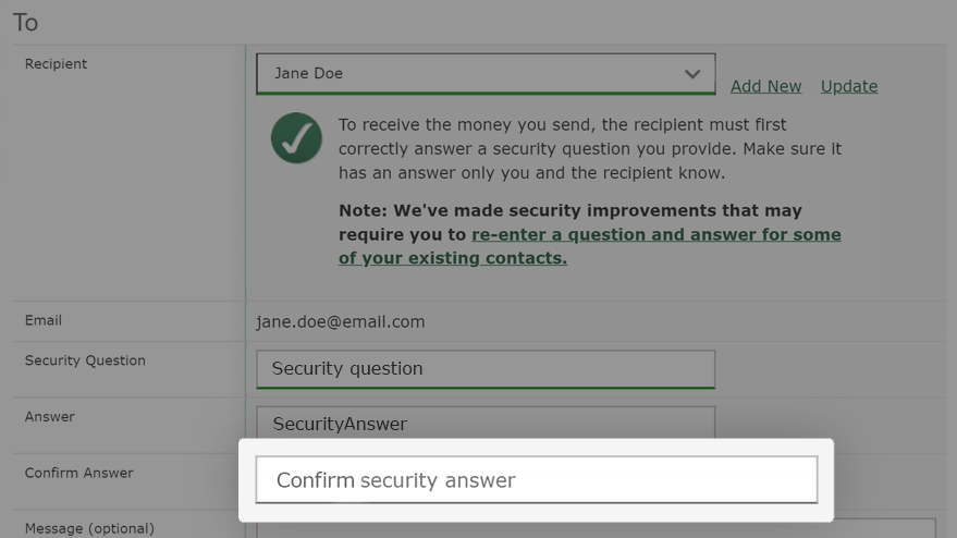 Go to the Confirm Answer field